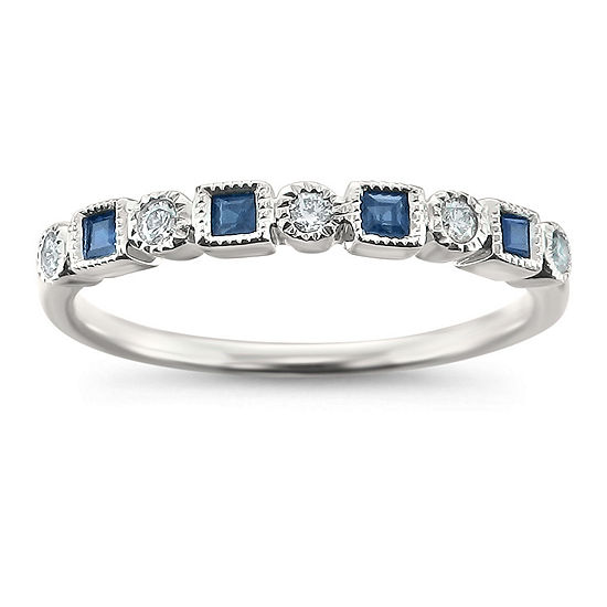 Modern Bride Gemstone Womens 2.5MM 1/4 CT. T.W. Genuine Blue Sapphire 14K White Gold Wedding Band