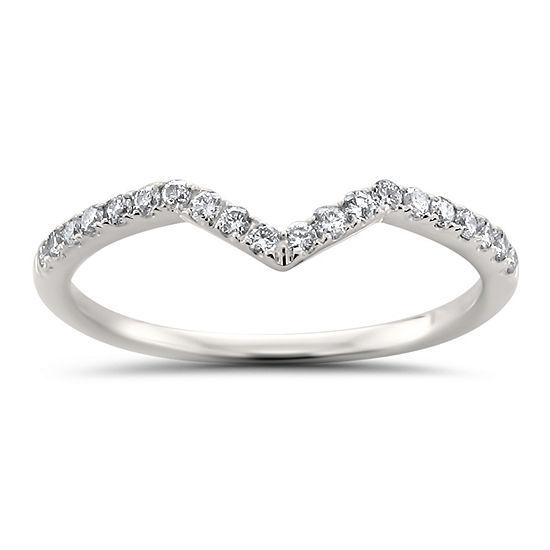 Womens 1/5 CT. T.W. Genuine White Diamond 14K White Gold Wedding Band