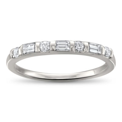 Womens 2mm 1/3 CT. T.W. White Diamond 14K White Gold Wedding Band