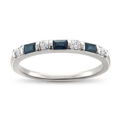 Modern Bride Gemstone Womens 2mm 1/3 CT. T.W. Blue Sapphire 14K White Gold Wedding Band