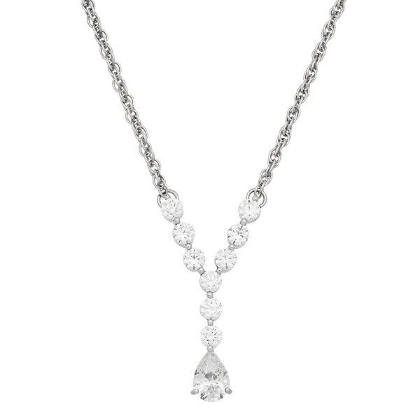 Fine Jewelry Diamonart Womens 1 5/8 CT. T.W. White Cubic Zirconia Sterling Silver Pendant Necklace g4ofg