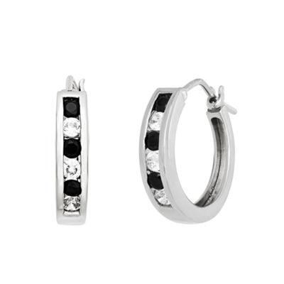 Diamonart 3/4 CT. T.W. Cubic Zirconia Sterling Silver 19.5mm Round Hoop Earrings