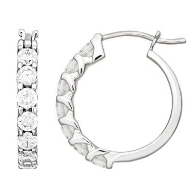 Diamonart 2 1/3 CT. T.W. Cubic Zirconia Sterling Silver 23.7mm Round Hoop Earrings