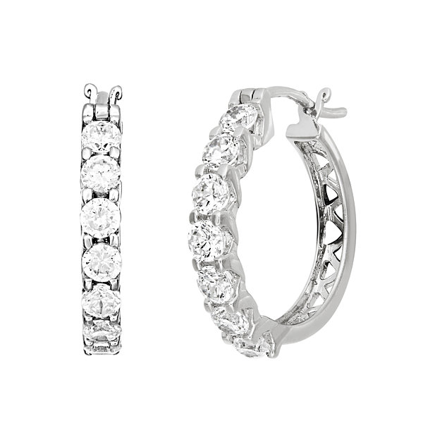 Diamonart 2 1/3 CT. T.W. Cubic Zirconia Sterling Silver Hoop Earrings