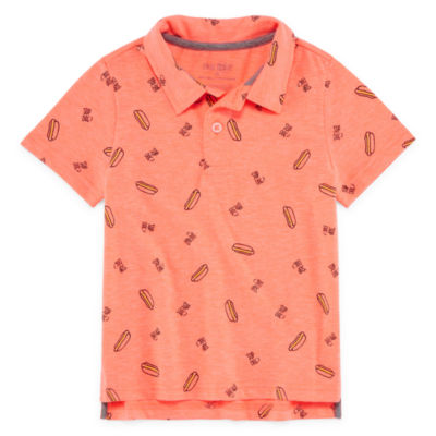 Okie Dokie Short Sleeve Geometric Jersey Polo Shirt - Toddler Boys
