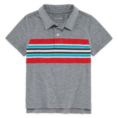 Okie Dokie Short Sleeve Geometric Jersey Polo Shirt - Toddler Boys