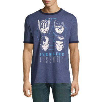 Avengers Assemble In Darkness Ringer Graphic Tee