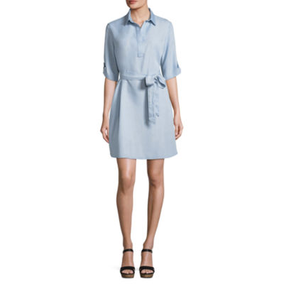 Liz Claiborne Short Sleeve Belted Shirt Dress