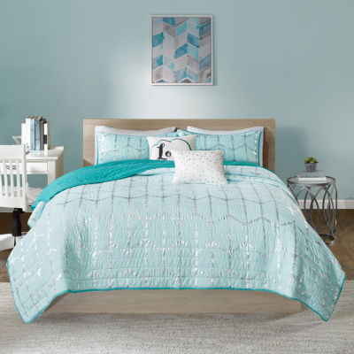 Intelligent Design Khloe Metallic Coverlet Set