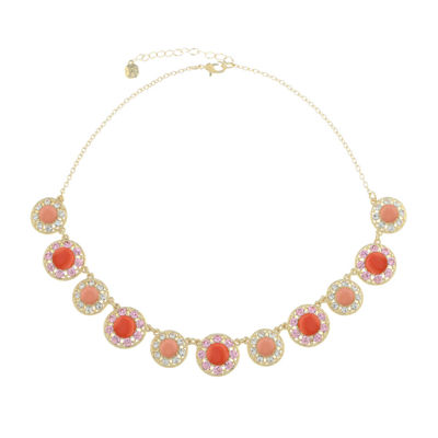 Monet Jewelry 90th Anniversary Womens Pink Collar Necklace