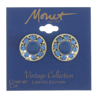 Monet Jewelry 90th Anniversary Blue Clip On Earrings