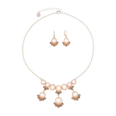 Monet Jewelry Pink Simulated Pearl Rose Tone 2-pc. Jewelry Set
