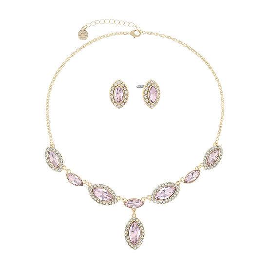 Monet Jewelry Pink Gold Tone 2 Pc Jewelry Set