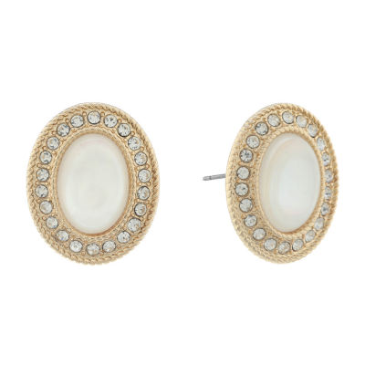 Monet Jewelry White 22mm Stud Earrings