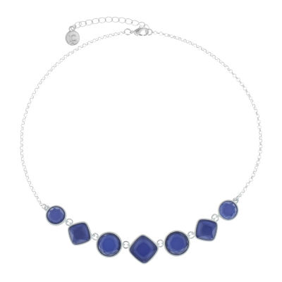 Liz Claiborne Electric Avenue Womens Blue Round Collar Necklace