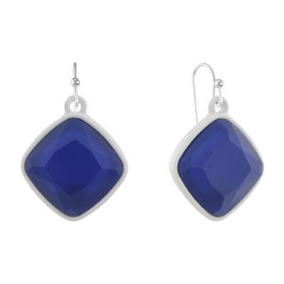 Liz Claiborne Electric Avenue Blue Square Drop Earrings