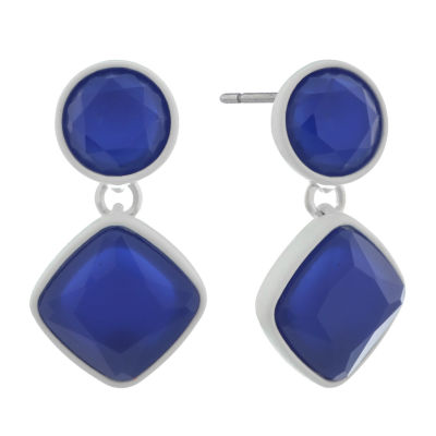Liz Claiborne Electric Avenue Blue Square Drop Earrings