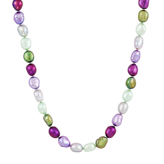 Honora Legacy Womens Purple Cultured Freshwater Pearl Sterling Silver Beaded Necklace