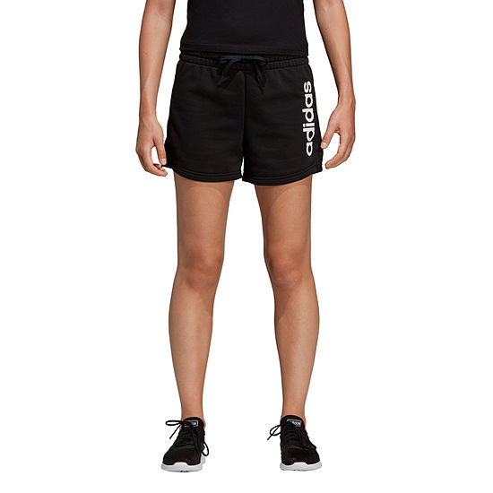 "adidas Linear Logo Ft Short Womens Mid Rise 3"" Running Short"