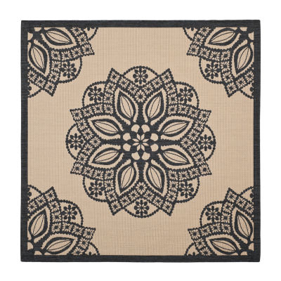 Safavieh Courtyard Collection Kimberly Oriental Indoor/Outdoor Round Area Rug