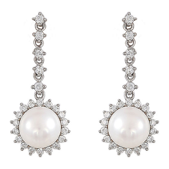 Honora Legacy White Cubic Zirconia Cultured Freshwater Pearl Sterling Silver Drop Earrings