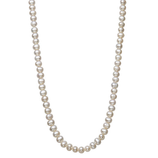 Womens 7MM White Cultured Freshwater Pearl Sterling Silver Strand Necklace
