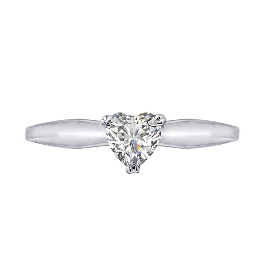 Diamonart Womens White Cubic Zirconia Sterling Silver Heart Promise Ring
