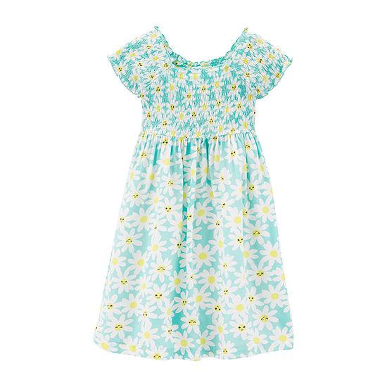 Carter's Girls Short Sleeve Floral A-Line Dress - Toddler