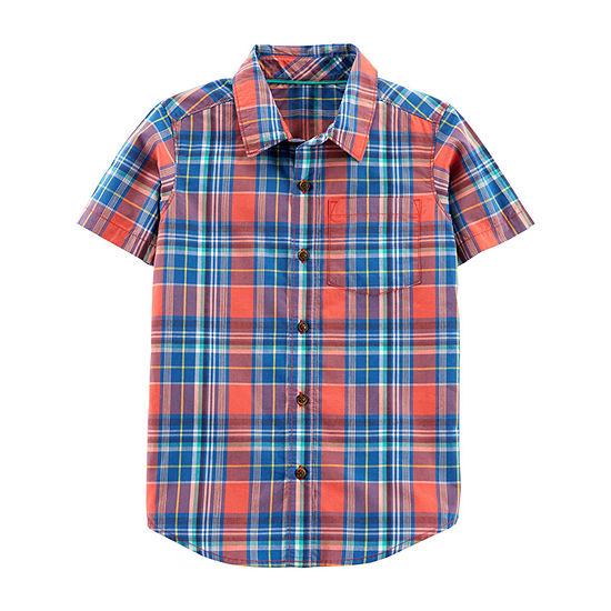 Carters Boys Short Sleeve Button Front Shirt Preschool Big Kid