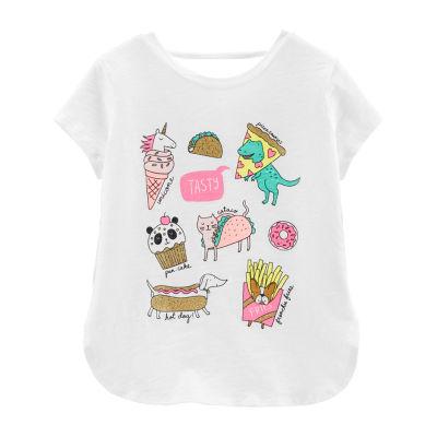 Carter's Girls Crew Neck Short Sleeve Graphic T-Shirt-Preschool