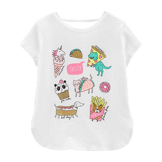 Carter's Girls Crew Neck Short Sleeve Graphic T-Shirt Preschool / Big Kid