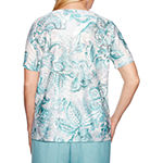 Alfred Dunner-Womens Crew Neck Short Sleeve T-Shirt
