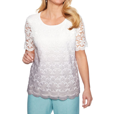Alfred Dunner Womens Crew Neck Short Sleeve Ombre Pullover Sweater