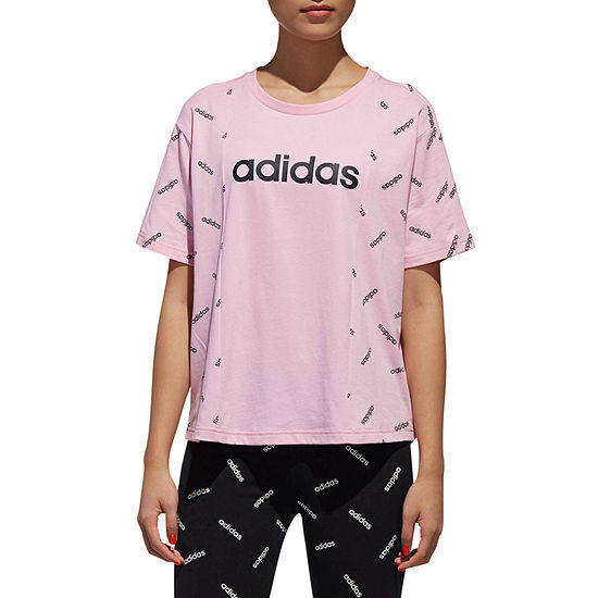 adidas Aop Logo Tee Womens Round Neck Short Sleeve Graphic T-Shirt