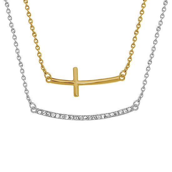 Sparkle Allure White Cubic Zirconia 14K Gold Over Brass 18 Inch Link Cross Pendant Necklace