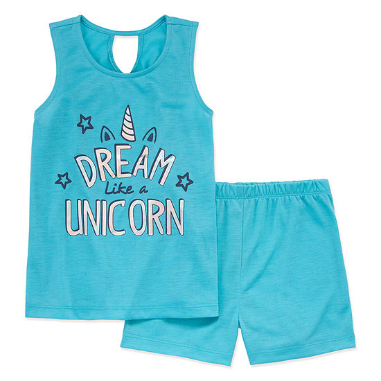 Peace Love And Dreams Girls 2-pc. Shorts Pajama Set Preschool