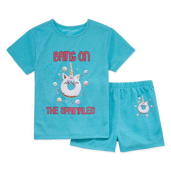 Peace Love And Dreams 2 Pc Shorts Pajama Set Preschool Girls