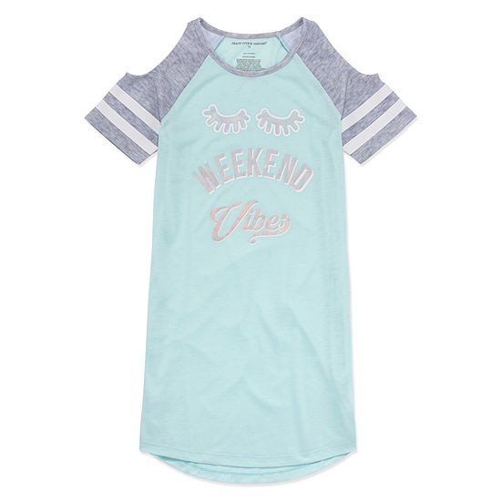 Peace Love And Dreams Girls Short Sleeve Round Neck Nightshirt