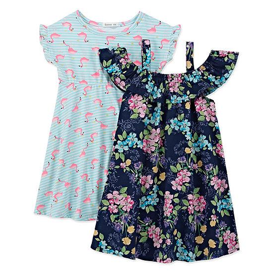 Forever Me Girls Short Sleeve Dress Set - Toddler