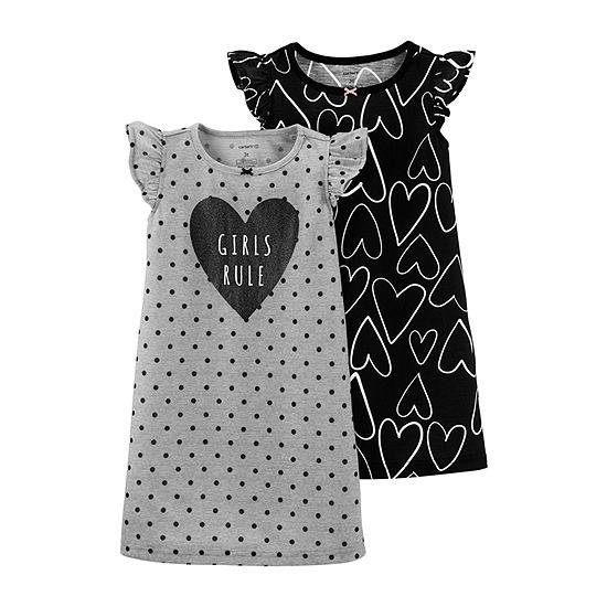 Carter's 2-Pk. Toddler Girls Knit Nightgown Short Sleeve Round Neck