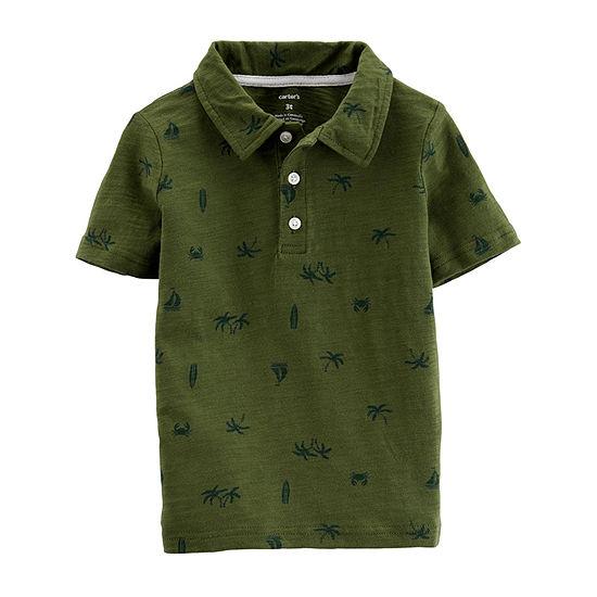 Carter's Boys Button Down Collar Short Sleeve Polo Shirt - Toddler