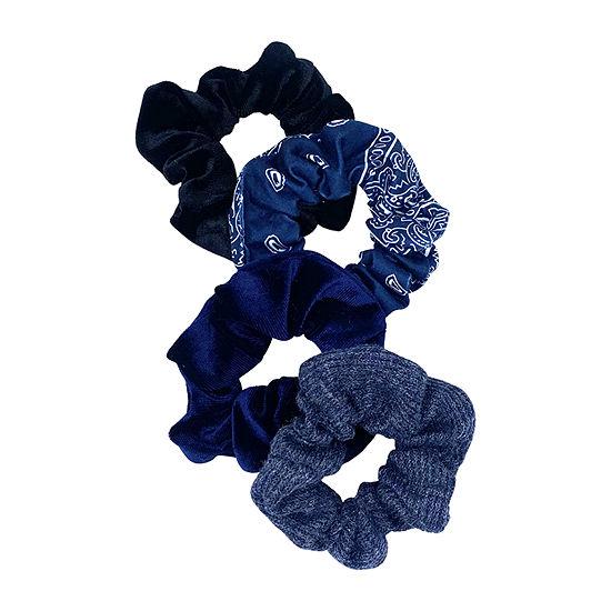Mixit Navy Blue Scrunchie 4-pc. Hair Ties
