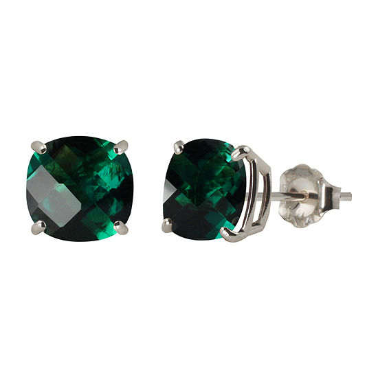 Lab Created Green Emerald Sterling Silver 8mm Stud Earrings