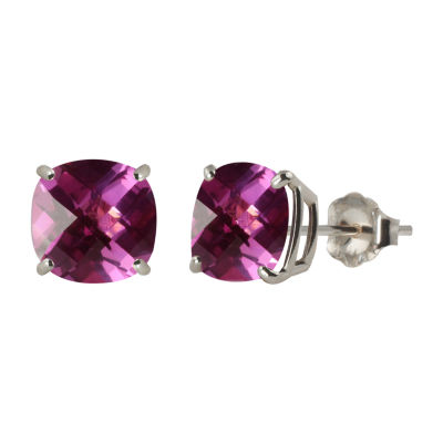 Lab Created Pink Sapphire Sterling Silver 8mm Stud Earrings