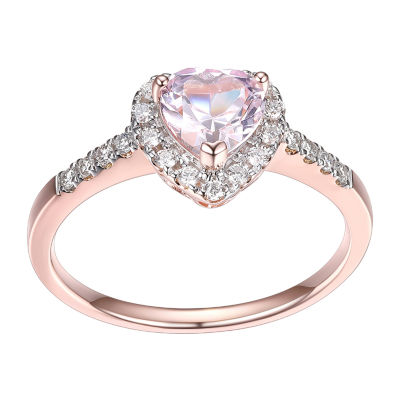 Womens Lab Grown Pink Sapphire 18K Rose Gold Over Silver Heart Halo Cocktail Ring