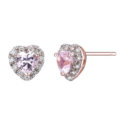 Lab Grown Pink Sapphire 18K Rose Gold Over Silver 8mm Heart Stud Earrings