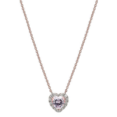 Womens Lab Grown Pink Sapphire 18K Rose Gold Over Silver Heart Pendant Necklace