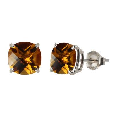 Genuine Orange Citrine Sterling Silver 8mm Stud Earrings
