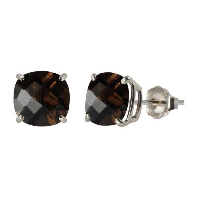 Genuine Brown Quartz Sterling Silver 8mm Stud Earrings