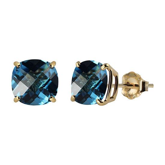Genuine Blue Topaz 10K Gold 8mm Stud Earrings